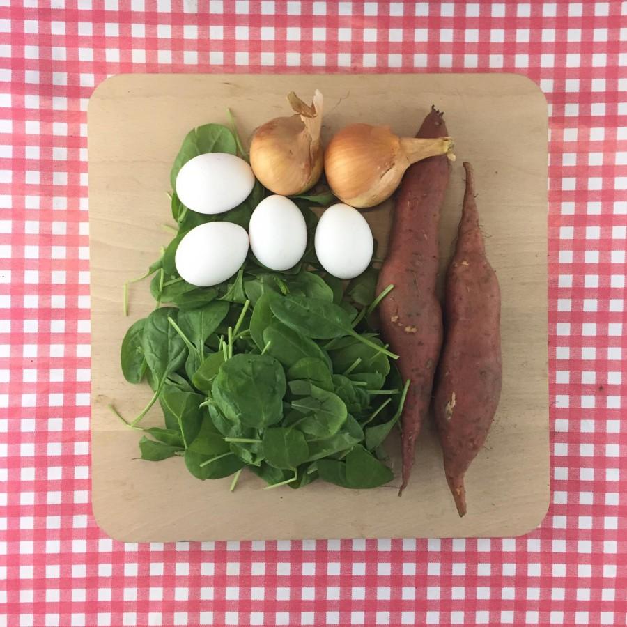 Frittata met zoete aardappel en spinazie