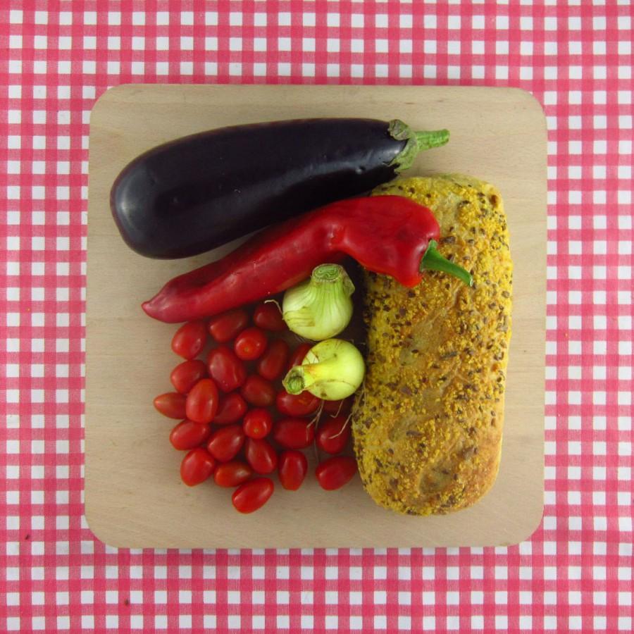 Gegrilde groenten met brood