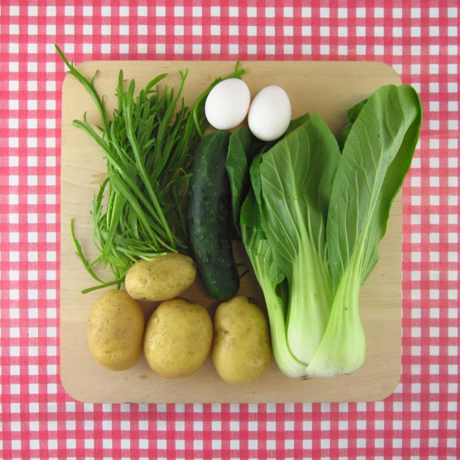 Gegrilde paksoi met landkraal-salade