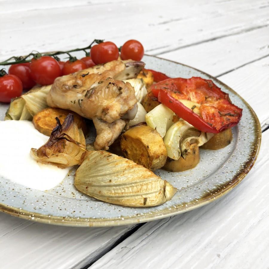 Geroosterde zomergroenten met kip