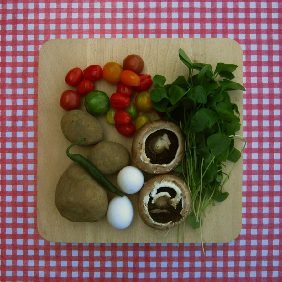Gevulde portabello met ei uit de oven