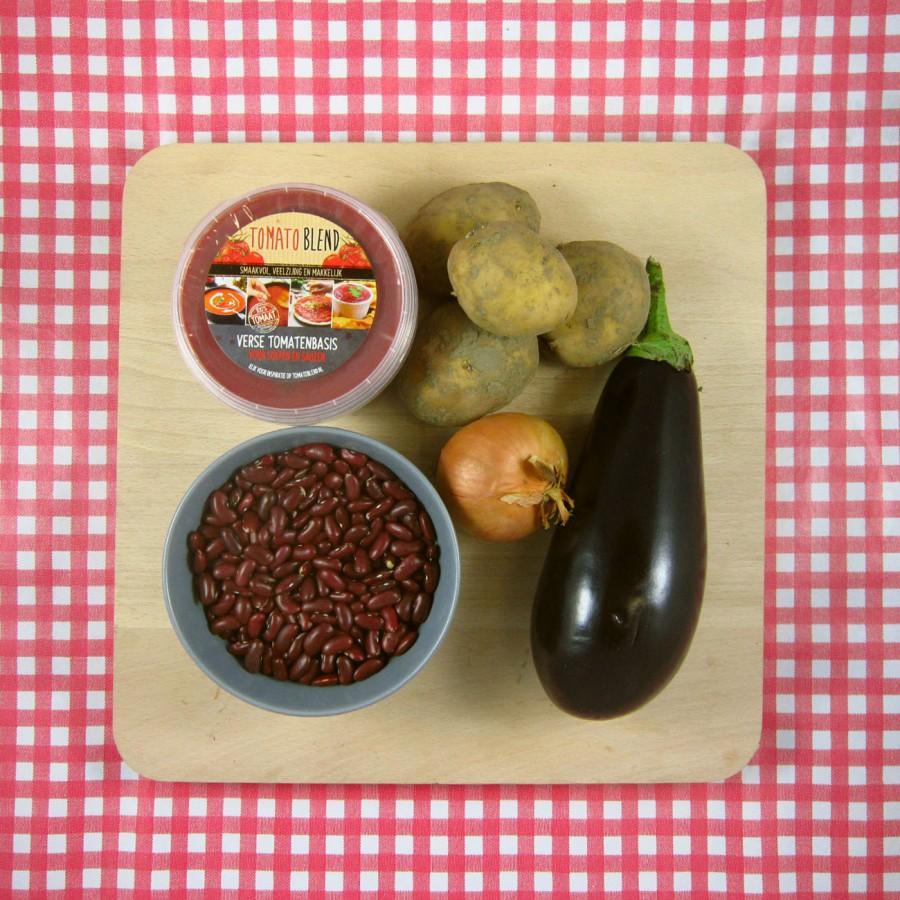 Kidneybonen-auberginestoof