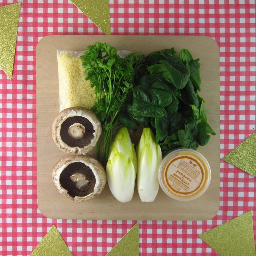Luxe plankje met portabello en witlofschuitjes