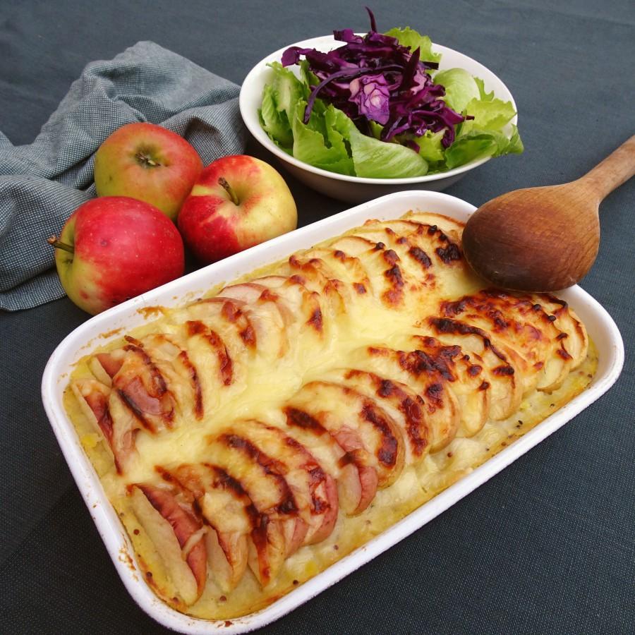 Ovenschotel knolselderij, appel en kaas