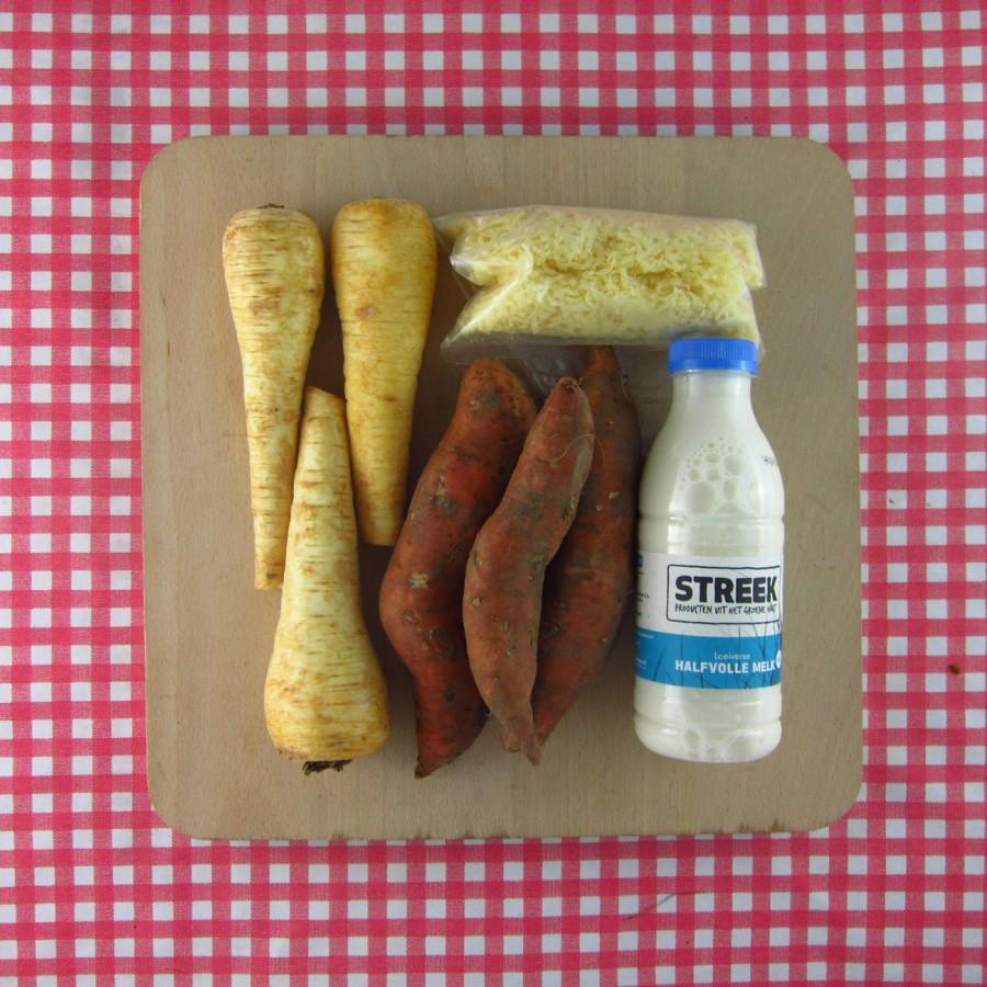 Pastinaak-zoete aardappel uit de oven
