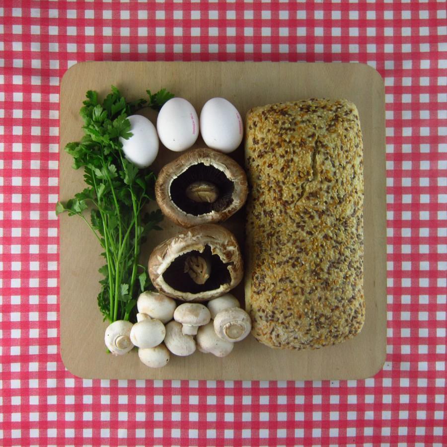 Portabella-frittata met brood
