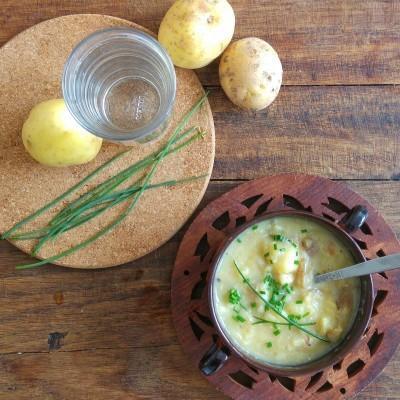 Gebakken aardappelsoep
