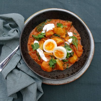 Aardappelcurry met spinazie