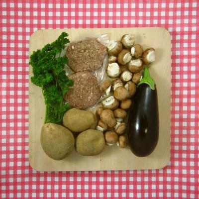 Champignon met aubergine en lamsburger
