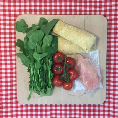 Ciabatta met kip, tomaat en rucola