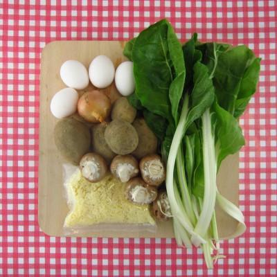 Frittata met snijbiet en champignons