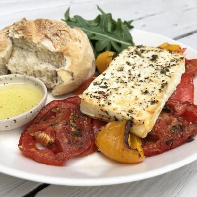 Gegrilde paprika, tomaat en feta