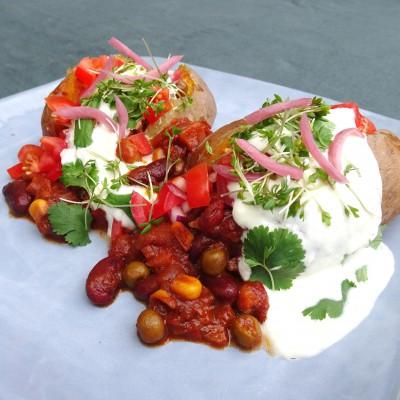 Gepofte aardappel met chili