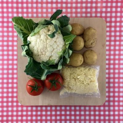 Geroosterde bloemkool met tomaat en kaas