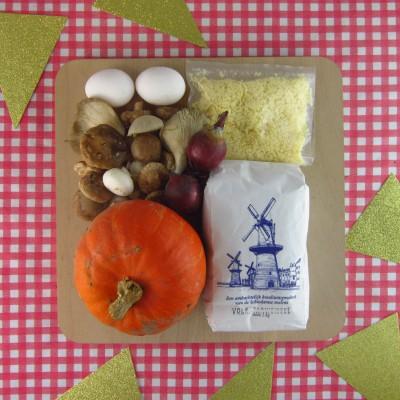 Luxe tarte tartin van pompoen en paddenstoelen