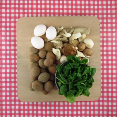 Maaltijdsalade met paddenstoelen