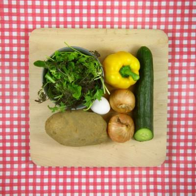 Zelfgemaakte rösti en een frissesalade